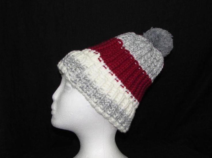 Unisex Adult Toque Winter Ski Hat Beanie Red White Grey With Pom Pom NWT NEW #Simi #Ski