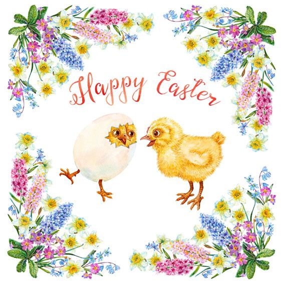 Main chicks happy easter card