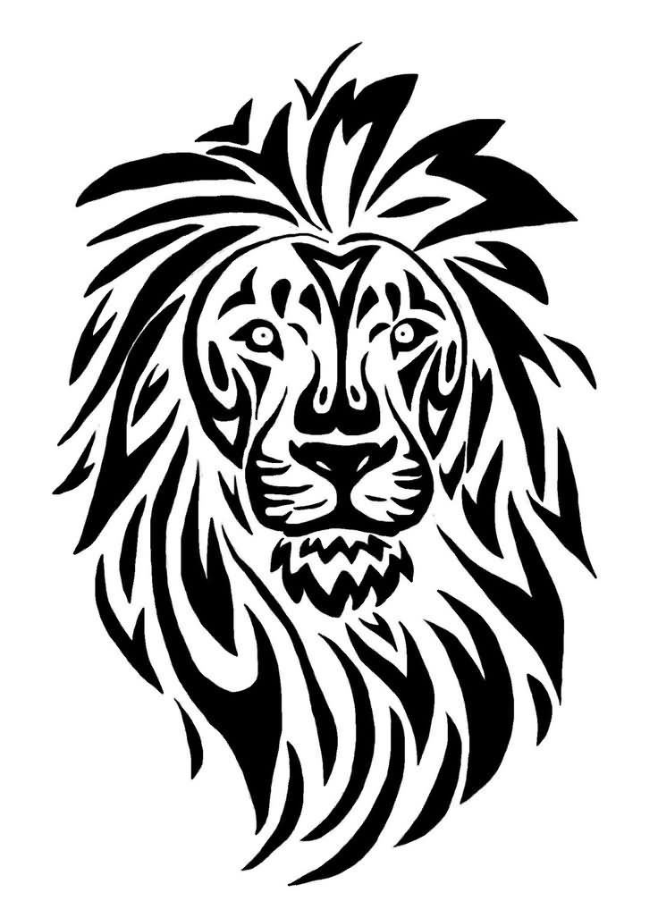 Black-Tribal-Lioness-Head-Tattoo-Stencil.jpg (736×1008)