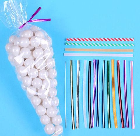 Cellophane cone bags with twist ties for making hot cocoa cones & candy cones.