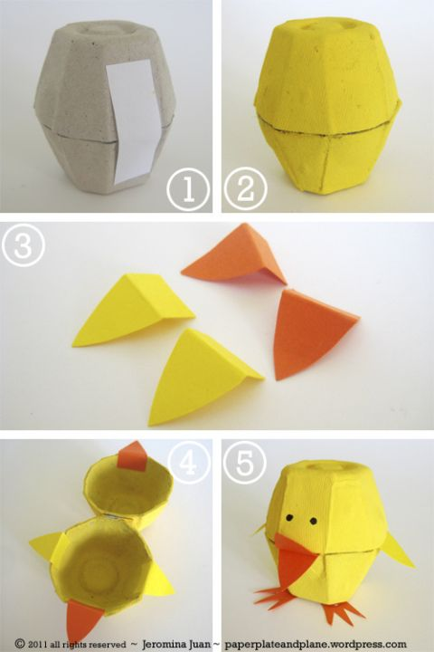 Cute chick easter craft using an egg carton, courtesy of Paper, Plate and Plane.