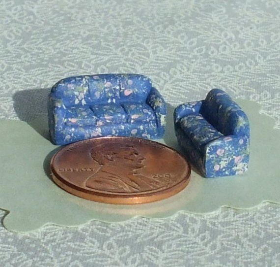 Micromini Couch and Loveseat Set 1/144th by WhimsyCottageMinis https://www.etsy.com/transaction/14365744