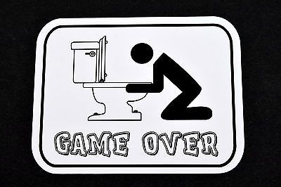 Game Over Toilet Stickman Hangover Funny Humor Fridge Refrigerator Magnet Osarix