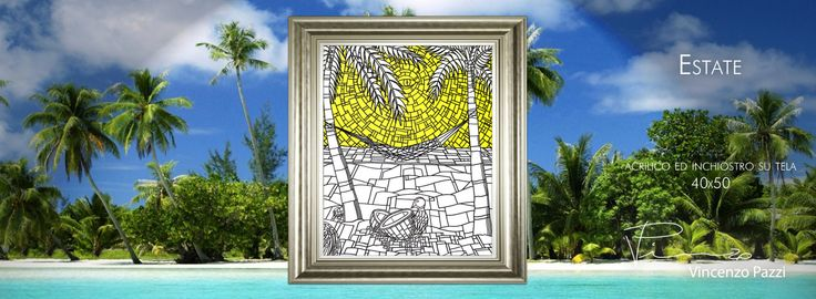 """Estate"" (Summer) - acrilico ed inchiostro su tela (acrylic and ink on canvas) - 40x50 cm - by Vincenzo Pazzi - http://vincenzopazzi.com/2014/06/10/estate-summer/ - #art #acrylic #ink #canvas #estate #summer"