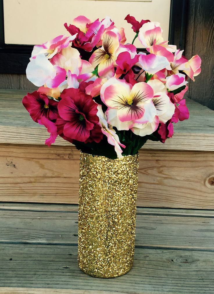 Gold Glitter vases. Cheap gold glitter vases great for centerpieces. Available at http://www.bliss-bridal-weddings.com/#!product/prd3/3654461561/12-pack-of-glitter-vases