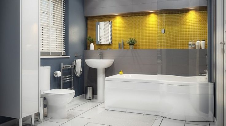 décoration intérieur en jaune et gris pour la salle de bains