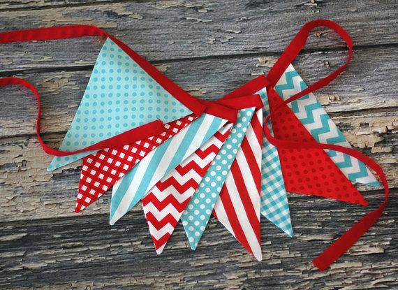 Red, White, Aqua BUNTING, Fabric Flag Banner, Pennant Nursery Decor, Photo Prop - Red, Aqua, White Chevron, Stripes, Dots, Gingham