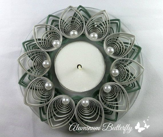 Quilled Candle Holder Flower in Sage Green by AluminumButterfly