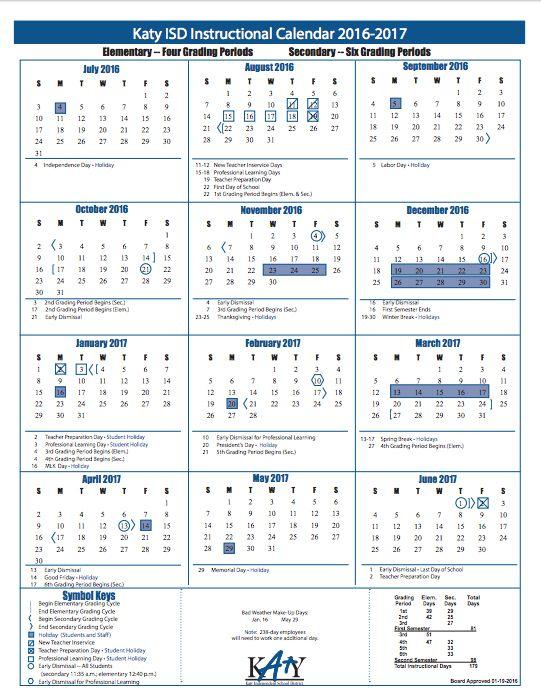 Katy Isd Calendar 2016 2017 | Calendar Template 2016