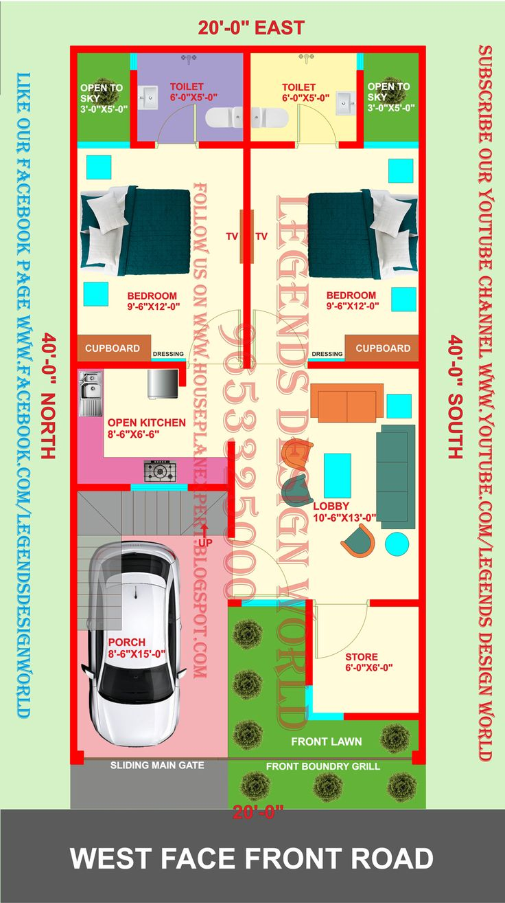 20x30 EAST FACING DUPLEX HOUSE PLAN WITH CAR PARKING