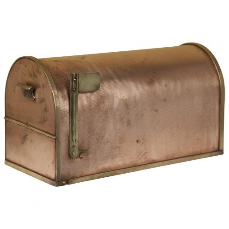 Classic Post Mount Copper Mailbox with Brass Accents - Mailboxes and Slots - Outdoor