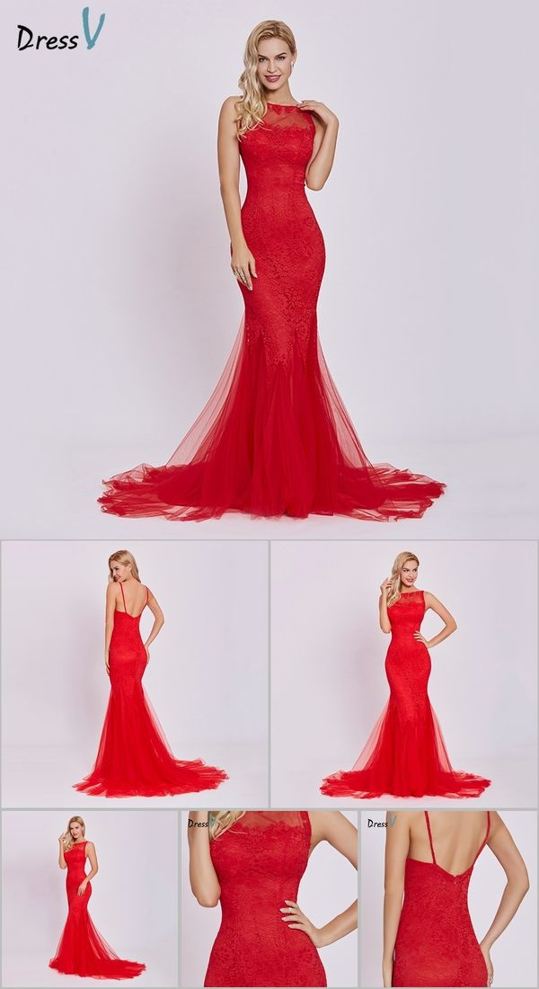 aa3c24734de3 Dressv red evening dress cheap sleeveless mermaid scoop neck backless sweep  train wedding party formal trumpet evening dresses