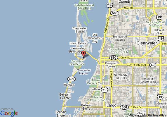 Map Of Florida Showing Clearwater.Clearwater Bay Florida Map Of Chart House Suites On Clearwater Bay