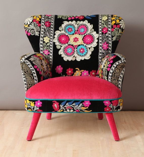 Suzani armchair - pink candy