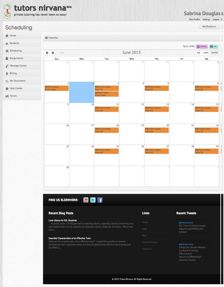 #Scheduling - Sync calendar with iCal and Google calendar.  View all your lessons in one place! http://www.tutorsnirvana.com/features
