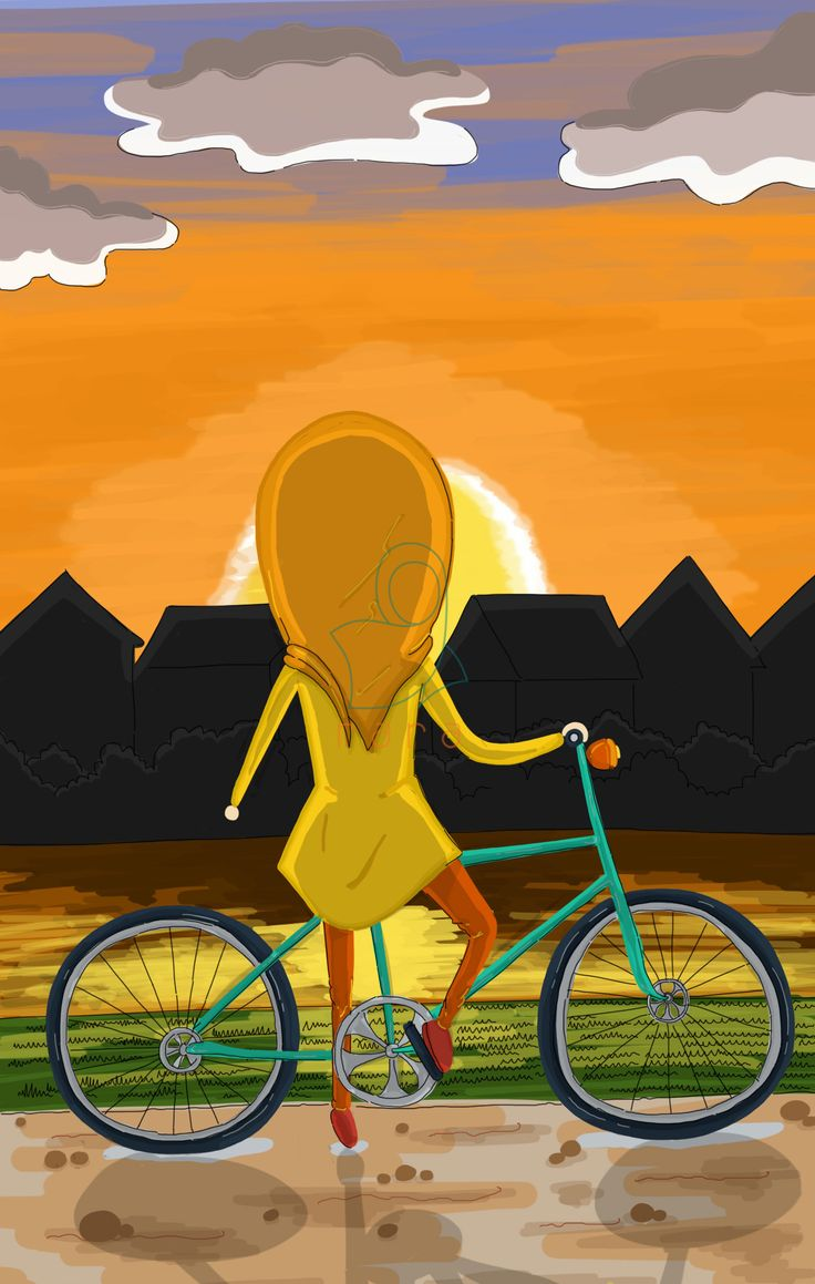 Girl with her bike looking the beautiful sunset. Masyaa Allah.