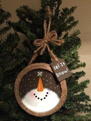 Mason Jar Ring Snowman Holiday Ornament by DoubleSDecor on Etsy