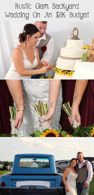 Rustic Glam Backyard Wedding | The Budget Savvy Bride | Wine bridesmaid dresses from David's Bridal | burgundy wedding | sunflower bridal bouquet #VelvetBridesmaidDresses #GrayBridesmaidDresses #BridesmaidDressesSummer #BridesmaidDressesFall #BridesmaidDressesHijab