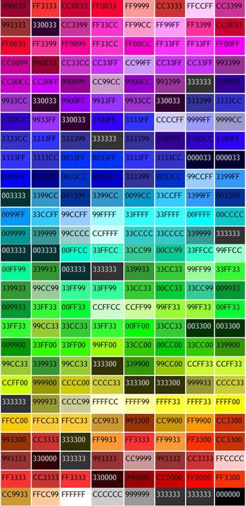 web color chart  color  Color Good color combinations