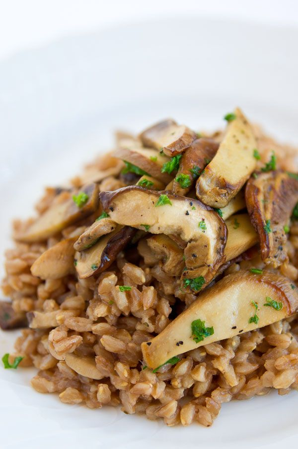 Farro and Porcini Mushrooms (Farro con funghi) As you can see by my board, I'm a big fan of farro.  I love to it eat by itself after I've cooked it in broth, yum!  I also love mushrooms and it sounds like a wonderful combination (not to mention healthy!) ;O)