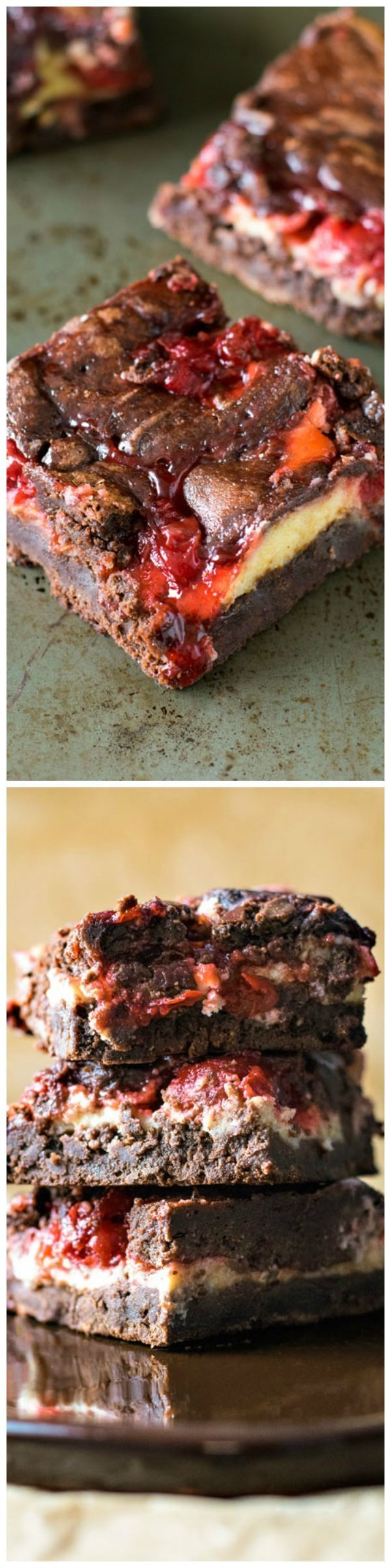 The ultimate brownie recipe baked with swirls of cheesecake and cherry pie filling!