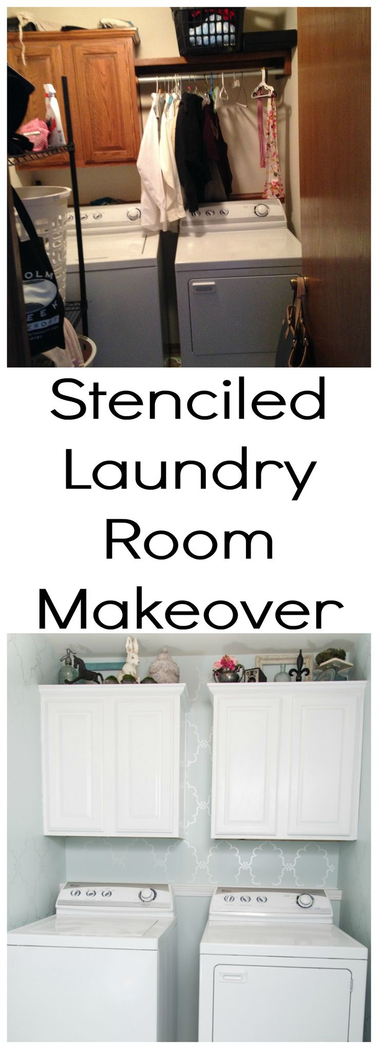 Stenciled Laundry Room Makeover by Restoration Redoux