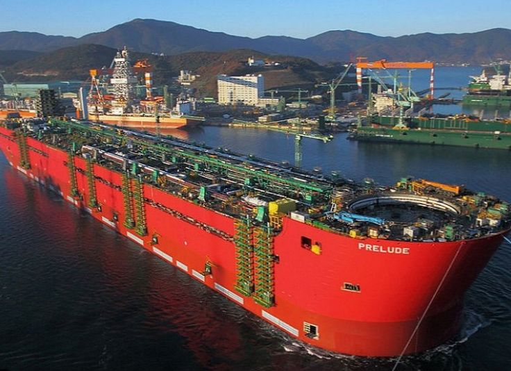 The Prelude FLNG is 1600 feet long and weighs 600,000 Tons.