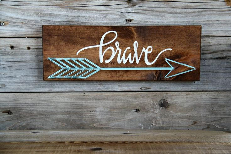 BRAVE, String Art, Hand lettered, Home Decor, Hand Painted, Wood Sign, Rustic Wall Hanging by HerHazelEyesStudio on Etsy