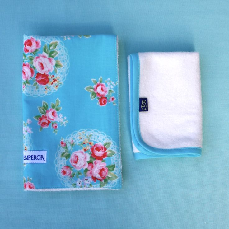 'Rose Garden' bib and matching facecloth - by Little Emperor. For little girls who like pink AND blue. #newborngift #newborn #handmade #babyshower #bamboo #Australia #kids #baby #buylocal #buyAustralian