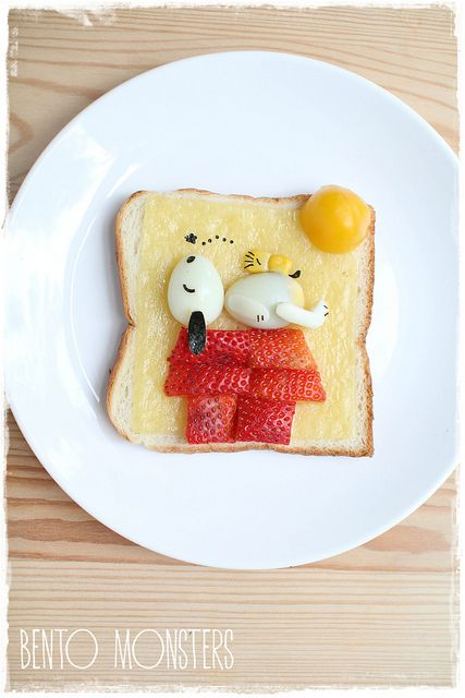 Snoopy snack for kids - strawberries hard boiled eggs