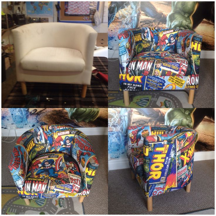 Upholstered Tub Chair In Marvel Themed Curtains For Childu0027s Room