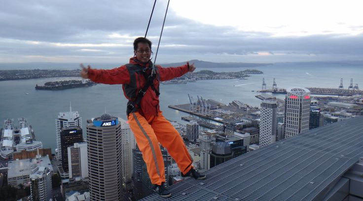Sky-walking at Sky Tower in Auckland, NZ