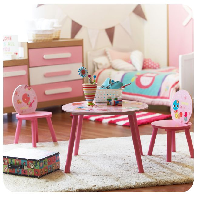 #Dormitorio #Bedroom #Infantil #Kids #Niño #Niña #Girl #Rosado #Pink #Mesa #Table #Chairs #Sillas #Play #Juego #Homy