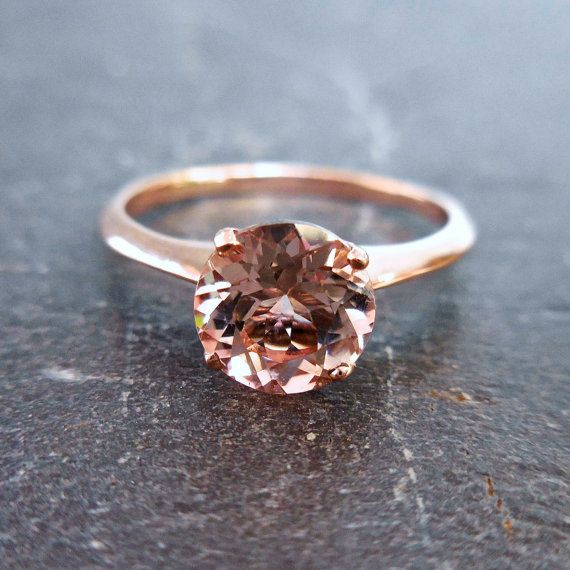 Solitare Morganite Ring 14kt Rose Gold Knife Edge by JewelLUXE