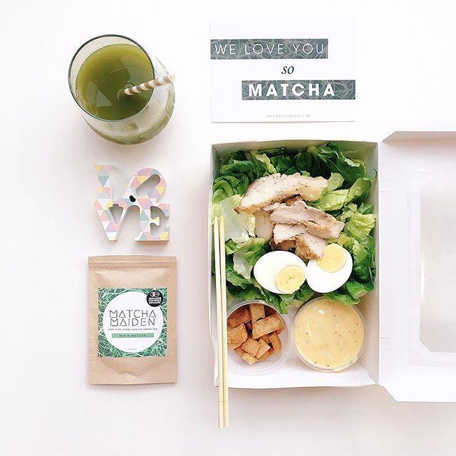 Caesar salad by @chopstickdinerlunchbox + matcha @matcha_maiden =  #flatlay #flatlays #flatlayapp www.flat-lay.com