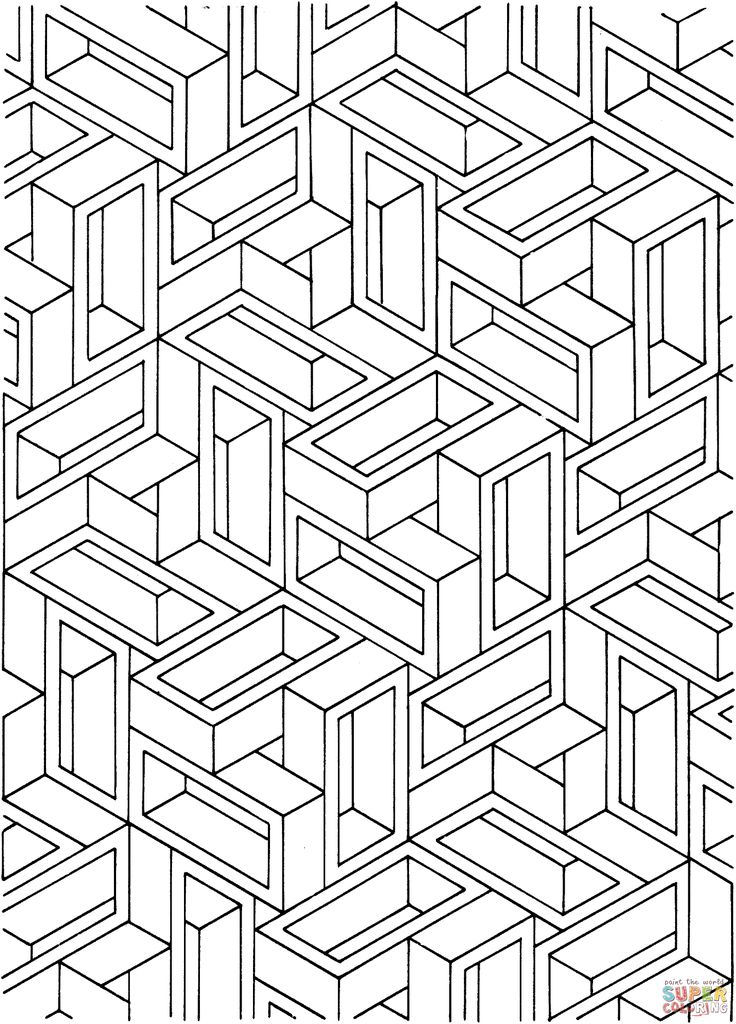 Optical illusion coloring pages to download and print for ...