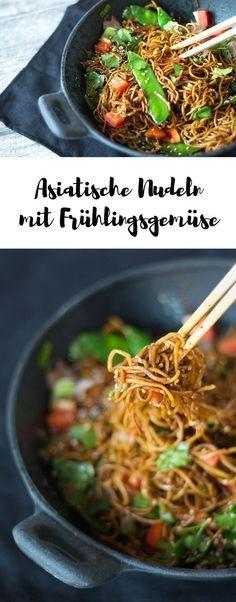 Asiatische Nudeln mit Frühlingsgemüse und Rindfleisch   – Essen