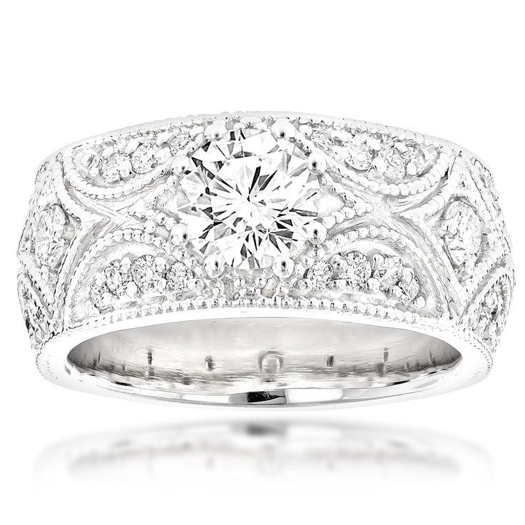 Designer Platinum Diamond Engagement Ring Antique Style 1.25ct