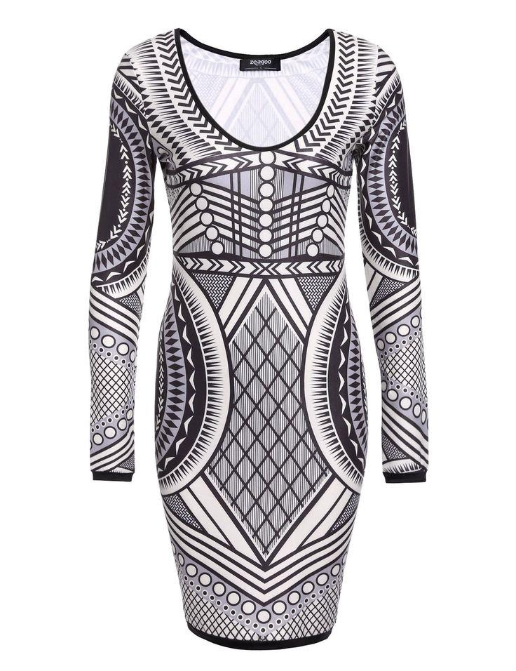 New Women Casual Round Neck Long Sleeve Fashion Slim Bodycon Dress