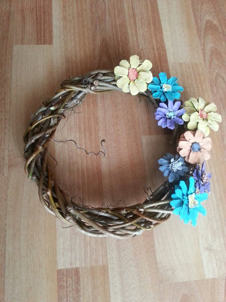 Diy Spring Pinecone Flower Wreath