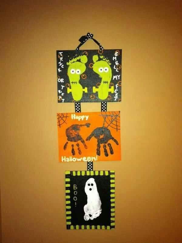 halloween art project with the kids feet and hand print - Halloween Arts And Crafts For Kids Pinterest
