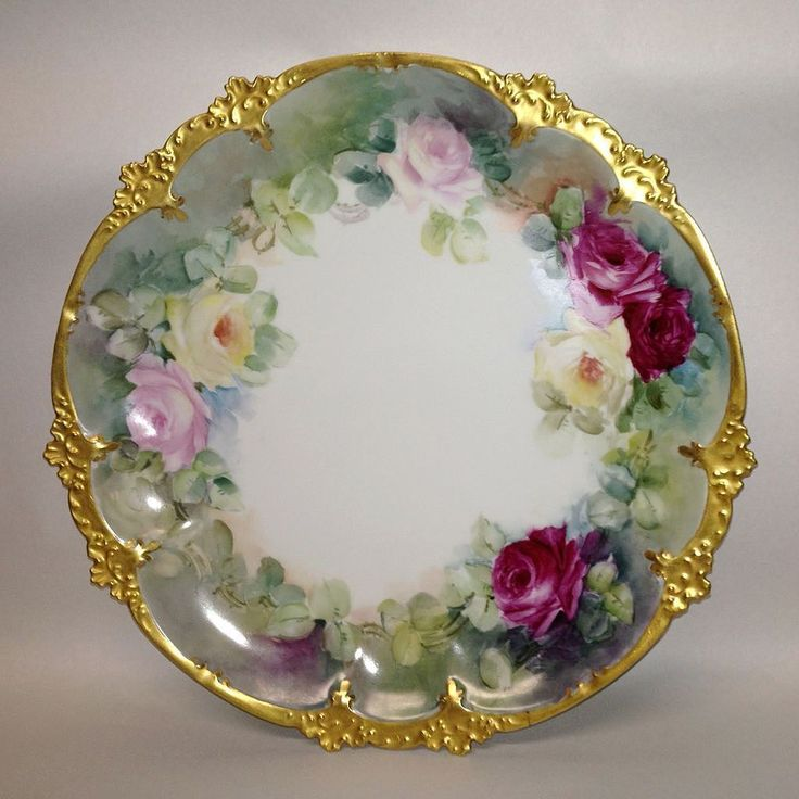 G.D.A. French Limoges Hand Painted Roses Charger Or Cake