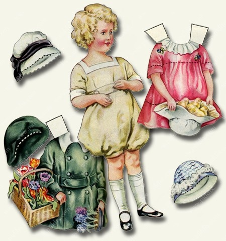 I was so happy when I found these great paper dolls from the 1920s and 1930s. There's a different one for each season/holiday. This one is for Easter and Spring. Printable collage sheet by piddix.