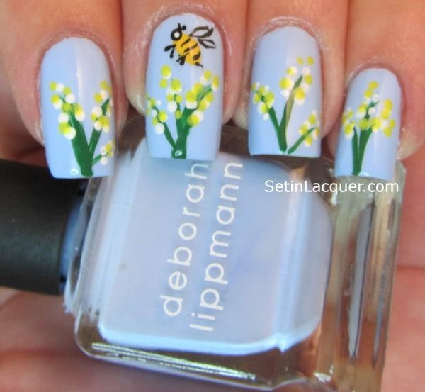 48 best nail art bees images on pinterest bees bumble bees and yellow flowers on sky blue with cute bee nail art prinsesfo Choice Image