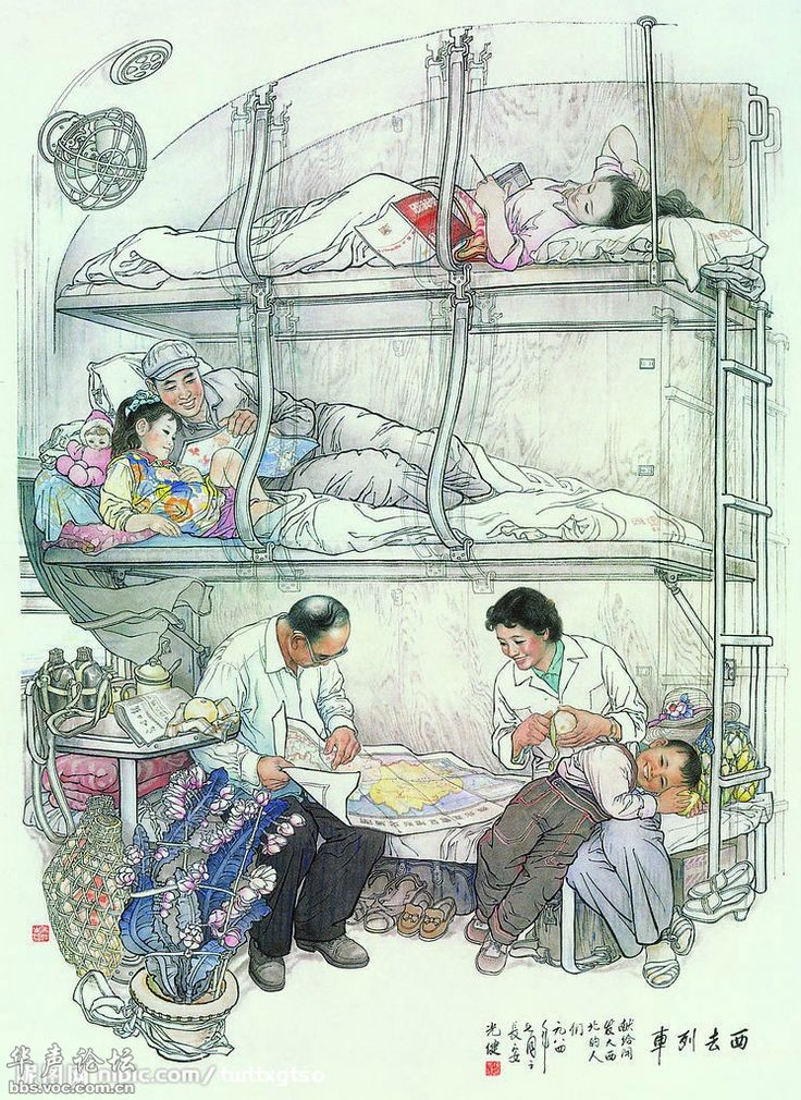 Chinese socialist poster--Chinese train cabin