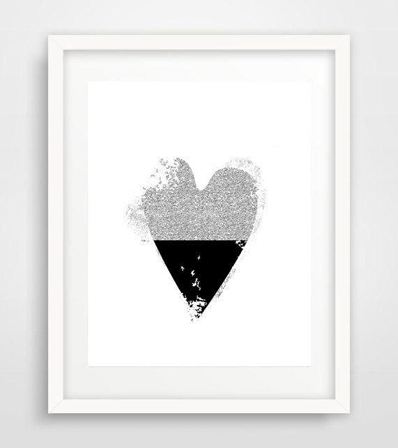 Black heart heart art anniversary gift printable by Ikonolexi