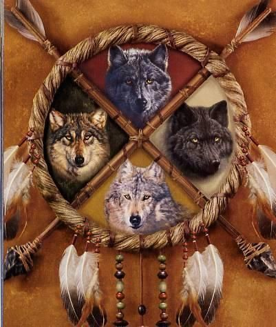 American Indian Spirit Wolf Guides. I can't believe I found a picture like this, with four wolves and everything! I'm posting it in my board to represent Angora, Isobel, Olaf, and Asa. <3