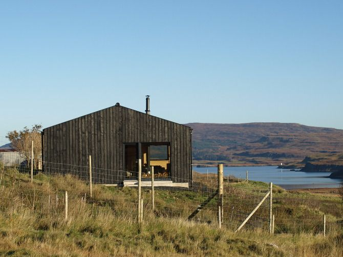 Black timber cladding - garage or office Skinidin - The Black Shed - Rural Design Architects - Isle of Skye and the Highlands and Islands