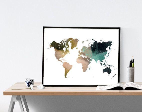 Wereld kaart aquarel muur kunst poster van de door WhiteDoePrints