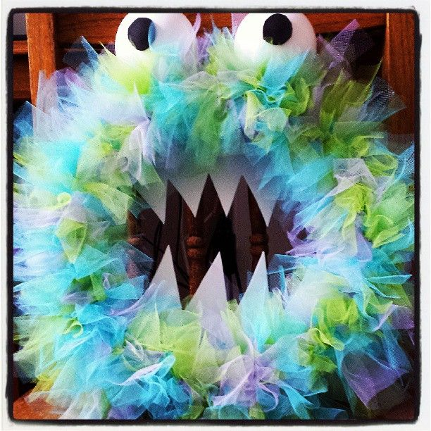 Monster wreath.  #Create2Educate #Sweepstakes. Enter your own project for a chance to win a $50 gift card to Michaels.  Learn more:  https://www.facebook.com/Michaels?sk=app_584051421645085